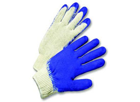 Blue Latex Coated String Knit Gloves at RagLady.com