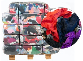 Colored Recycled T-Shirt Rags - 40 Anti-Slip 25lb Bags at RagLady.com