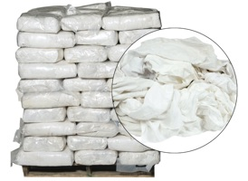 White Recycled T-Shirt Rags - 100 Anti-Slip 10lb Bags at RagLady.com