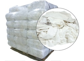 White Recycled T-Shirt Rags - 40 Anti-Slip 25lb Bags at RagLady.com