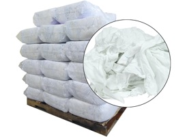 Recycled White Sheeting Rags 24x24 - 40 Anti-Slip 25lb Bags at RagLady.com