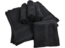 Black Premium Washcloths 12x12 at RagLady.com