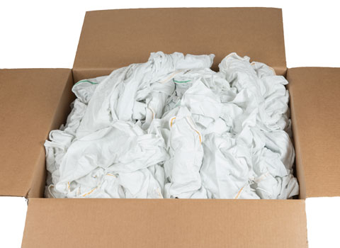 Recycled White Cotton Rags 18x18 at RagLady.com
