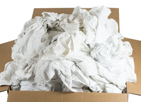 Recycled White Flannel Rags 18x18 at RagLady.com