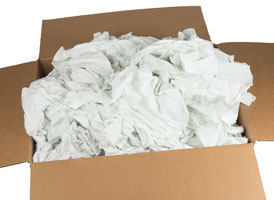 Recycled White Sheeting Rags 24x24 at RagLady.com