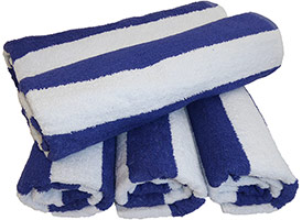 Cabana Blue Striped Pool & Beach Towels 30x70 at RagLady.com