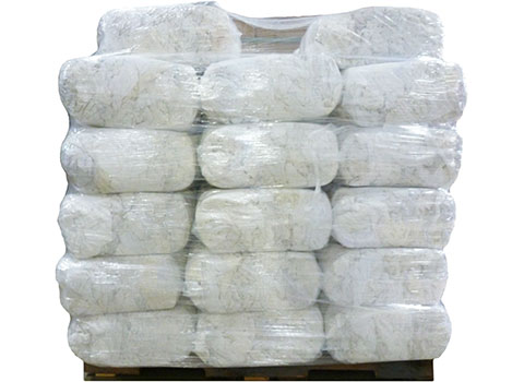 White Recycled T-Shirt Rags - 25lb Anti-Slip Bags - 1000lbs at RagLady.com